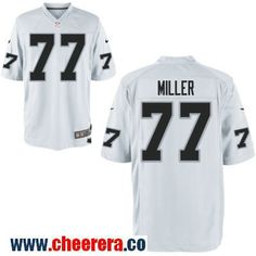 c9220fd6 Men's Oakland Raiders #77 Kolton Miller White Road Stitched NFL Nike Game  Jersey