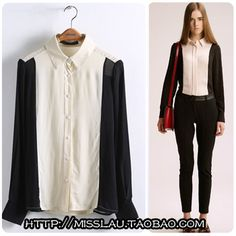 2013 in Europe and the wind in the spring season new women's clothing collar stitching bump color women's long sleeve shirt color matching chiffon shirt