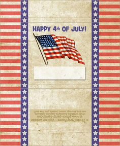 4th of July Free Printable Candy Bar Wrapper, ready to personalize.