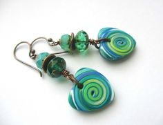 Blue and Green Heart Earrings £11.00