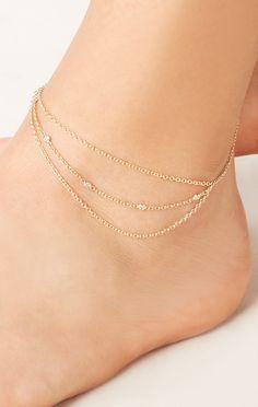14k yellow gold Triple Diamond Chain Anklet // Jacquie Aiche #planetblue #whatsnew.
