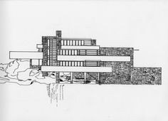 South Elevation- Front View of Fallingwater Facing Waterfall. Ink on mylar sketch from: decoratingflair.com