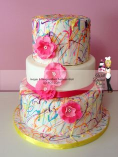 Pink Paint Splatter Cake - I LOVE how this cake turned out. TFL