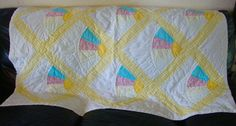 Vintage Baby Quilt Hand Stitched Gingham Sun Colorful Crib Stroller Nursery ART