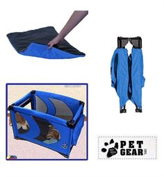 (Pet Gear) Home N Go Portable Pet Pen (Blue)  Open top. Front zippered door.  Removable fleece pad and waterproof liner for easy cleaning.  Storage pouches for all your pet's extras.  Compact fold takes up very little space when closed for storage or travel.  Strong steel tube frame with easy push button folding mechanism.  Great for travel.  Perfectly portable.  Comfy safe home for your pet.  Folds for the car.  Also an ideal puppy pen.  £74.99