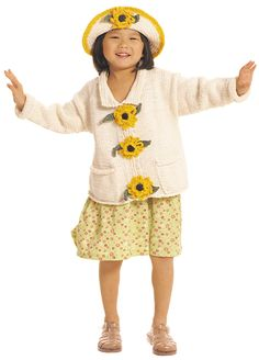 Flower sweater - free knitting pattern - sizes 2-10 - Just what I need for my granddaughters!