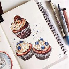 Copic Marker Art, Sketch Markers, Desserts Drawing, Chibi Kawaii, Watercolor Food, Art Journal Techniques, Hippie Art, Food Drawing, Colorful Drawings