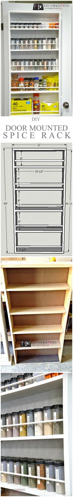 DIY Door Mounted Spice Rack Free plans to build your own DIY door mounted spice rack. An easy build that even a beginner can take on. Utilize the wasted space behind your pantry door. Kitchen Projects, Diy Furniture, Diy House Projects, Pantry Makeover, Diy Projects And Organization, Diy Door, Repurposed Furniture, Door Spice Rack, Door Mounted Spice Rack