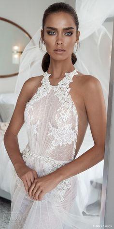 elihav sasson spring 2018 halter embellished ruched bodice lace sheath a line wedding dress (vj 016) mv  sheer back glam