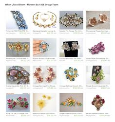 When Lilacs Bloom - Flowers by VJSE Group Team. Spring is coming early this year, already enjoying walks through the woods. Here are some of the blooms from the VJSE Group Team.  Curator: Cleaver White from https://www.etsy.com/shop/LaytonandEverett #etsytreasury #VJSE #vintagejewelry #brooch #pin #miriamhaskell #vintage #jewelry #vintagepins #earrings #rhinestone #vintagebrooches