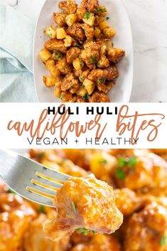 Vegan Huli Huli Cauliflower Bites -- These crispy baked cauliflower bites are covered in a delicious Hawaiian pineapple teriyaki sauce! This recipe is the perfect plant-based appetizer or side dish. #vegan #healthy #superbowl #appetizer #sidedish #healthy #cauliflower #veganwings | mindfulavocado Vegan Lunch Recipes, Delicious Vegan Recipes, Vegan Snacks, Vegan Dinners, Beef Recipes, Whole Food Recipes, Healthy Recipes, Vegan Food, Vegetarian Side Dishes