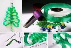 DIY Beads And Ribbon Christmas Tree - Find Fun Art Projects to Do at Home and Arts and Crafts Ideas