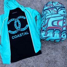 Catch the Coastal vibe. #salishstyle Coastal by Simone Diamond (Cowichan); Ocean Creatures by Morgan Asoyuf (Tsimshian)