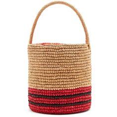 Sensi Studio Stripe toquilla-straw basket bag (€165) ❤ liked on Polyvore featuring bags, handbags, print purse, beige purse, striped purse, sensi studio and drawstring handbags