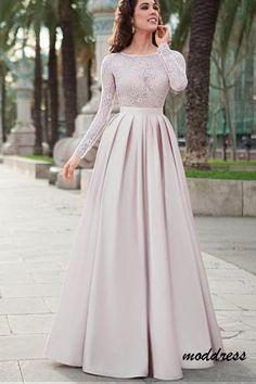 Lace Top Satin Jewel Neckline Long Sleeves A-line Prom Dress Evening Dress  BD693 ece8935ac99d