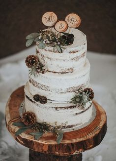 Rustic wedding cake decorated with pine cones + slice of wood as wedding cake topper display on slice of wood
