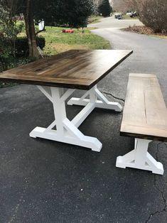 Farmhouse Tables - Into The Woods - Custom Farmhouse Tables | Into The Woods - Custom Farmhouse Tables Farmhouse Table For Sale, Rustic Farmhouse, Picnic Table, Rustic Furniture, Dining Table, Woods, Tables, Inspiration, Home Decor