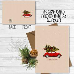 Christmas Cards, holiday card, Red Christmas Car, xmas card, brown christmas card, pine tree card
