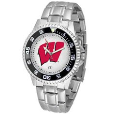 "Wisconsin Badgers NCAA ""Competitor"" Mens Watch (Metal Band) by SunTime. $84.59. Rotating Bezel. Calendar Date Function. Color Coordinated. Showcase the hottest design in watches today! A functional rotating bezel is color-coordinated to compliment your favorite team logo. A durable, long-lasting combination nylon/leather strap, together with a date calendar, round out this best-selling timepiece."
