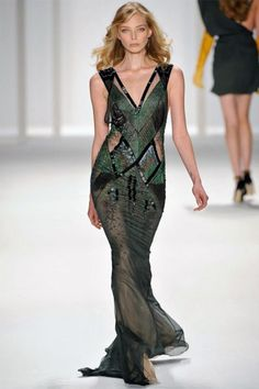 J. Mendel - Slinky Fall - Juniper silk chiffon V-neck embroidered gown with tulle inserts.