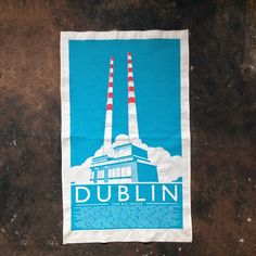 Gorgeous tea towel featuring the iconic Poolbeg Towers of Dublin Bay. Hand pulled screen printed on unbleached natural cotton. high quality cotton printed in Dublin How big is x 47 cm approx Pigeon House, Peg Loom, Irish Design, Irish Art, Japanese Design, Local Artists, Tea Towels, Dublin, Screen Printing