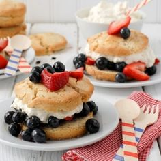 All American Berry Buttermilk Shortcake. Perfect for Fourth of July or any summer meal! Gluten-free.
