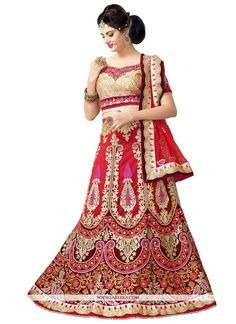 Rich look attire to give your a right choice for any party or function. Spread the aura of freshness with this red net a line lehenga choli showing a touch of sensuality. Beautified with embroidered a...