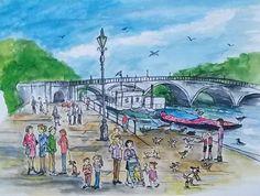 "'Richmond Bridge in Summer' Print of an original watercolour by Caroline Sayer, London, c.2015 Size: 10""x12"" including mount.    By London-based artist, Caroline Sayer See more at: www.carolinesayer.co.uk"