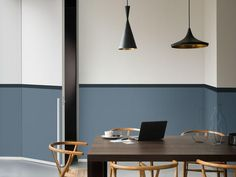 Dulux Colour Futures 17 - The Working Home - dining room - denim drift, black, - Mad About The House Decor, Living Room, Room, Half Painted Walls, Home Deco, Room Colors, Simple Interior, Simple Interior Design, Interior Design