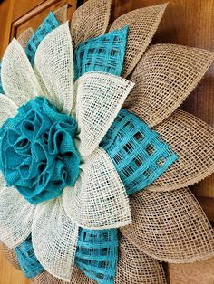 Large Natural, Turquoise and Cream Poly Burlap / Burlap Coastal Cottage Flower Wreath Door Decor (UITC) Sunflower Burlap Wreaths, Mesh Ribbon Wreaths, Burlap Flowers, Deco Mesh Wreaths, Burlap Crafts, Wreath Crafts, Diy Wreath, Diy Crafts, Mesh Wreath Tutorial