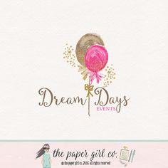 balloon logo design party logo design watercolor por ThePaperGirlCo