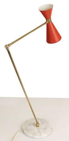 Contemporary Lighting italian design Stilnovo Floor Lamp Gold Brass White Red