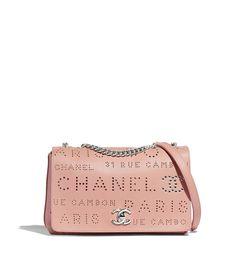 a03ea2588f6d Flap Bag, calfskin, eyelet, tweed & silver-tone metal, pink & white - CHANEL