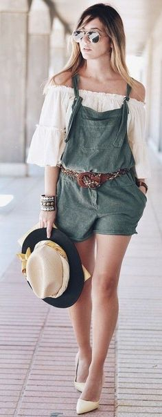 #summer #fashionistas #outfitideas | White Off The Shoulder + Army Green Romper