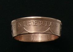 Bronze Coin Ring 1959 Nigeria 1 Penny  Ring by GlobalCoinJewelry, $29.99