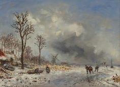 Johan Barthold Jongkind - Winterlandschap met schaatsers in de omgeving van Rotterdam (1879)