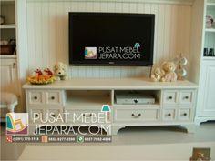 bufet-tv-minimalis-laci-duco-florence Tv Furniture, Tv Cabinets, Florence, Shabby Chic, Minimalist, Sofa, Pillows, Design, Vintage