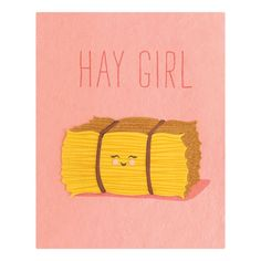 """""""hay girl"""" card, handcrafted in the Philippines from recycled paper"""