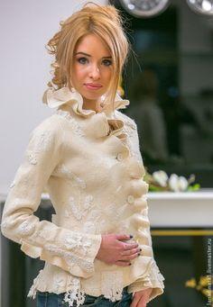 """Пиджаки, жакеты ручной работы. Жакет  """"Elegante bianco"""". Одежда и аксессуары от Натальи Швец. Интернет-магазин Ярмарка Мастеров."""
