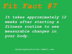 Fit Fact---12 weeks..really? :(