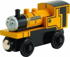 Thomas And Friends Wooden Railway - Duncan by Rc2. $9.31. Each character has a unique personality and job on Sodor. Includes magnets to attach other cars and vehicles. Handmade from REAL WOOD. Thomas Wooden Railway products are not compatible with Take Along Thomas vehicles and destinations. Vehicles aid in developing fine motor skills, color identification and counting skills. From the Manufacturer                A plain-speaking engine, Duncan keeps busy and mean...