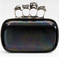 Badass Designer Clutches - Silver Skull Brass Knuckle Bag by Alexander McQueen
