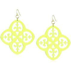 """Sandy Hyun """"Deco Lucite"""" Neon Green Lucite Fleur De Lis Earrings"""
