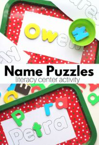 Learn to spell your name with these name puzzles that are so easy to make for your preschool students or for your kindergarten class. Preschool Name Recognition, Preschool Names, Preschool Literacy, Preschool Lesson Plans, Kindergarten Class, Letter Recognition, Letter Tracing, Circle Time Activities, Graphing Activities