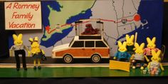 """Created by Colleen Canning, 51, of Jacksonville, Fla. Her description: """"The diorama depicts a vacation the Romney family -- Mitt, Ann, their five young sons and the family dog, an Irish Setter named Seamus -- took in 1983. While most of the family enjoyed the 12-hour road trip from the interior of the wood-paneled station wagon, Mitt placed poor"""