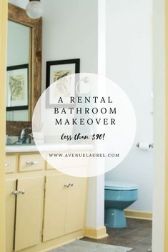 Looking for rental bathroom makeover ideas? you won't believe the update given to this old, ugly, outdated rental bathroom! we updated the mirror, walls, Bathroom Makeovers On A Budget, Bathroom Mirror Makeover, Rental Makeover, Apartment Makeover, Old Bathrooms, Small Bathroom, Bathroom Ideas, Shower Ideas, Vintage Bathrooms