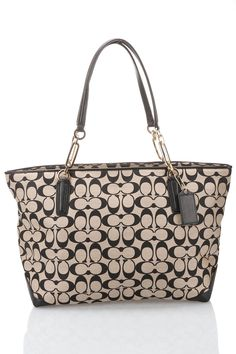 Coach Madison Signature Tote in Khaki and Black - Beyond the Rack