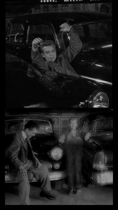 """James Dean apparently exercising between two cars. The photocopy catches  Jimmy and Sal Mineo relaxed and smiling between scenes by the car."""