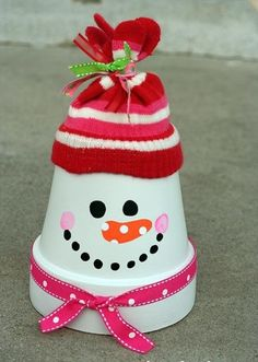 creative christmas crafts ideas flower pot transormed into a merry snowman