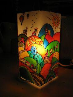 Hőlégballon Meselámpa  - festett üveg hangulatlámpa, gyereklámpa, Baba-mama-gyerek, Otthon, lakberendezés, Gyerekszoba, Lámpa, Meska